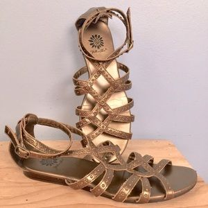 Gold Gladiator Sandals Yellow Box Ankle Strap Sz 8